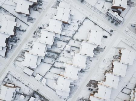 Little Scotland village, aerial winter view. Moscow region. Russia