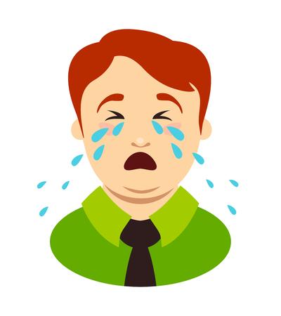 Fat man cries. Head of overweight boy. Vector illustration