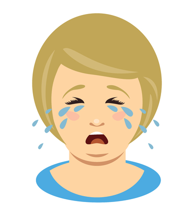 Fat woman cries. Head of overweight girl. Vector illustration