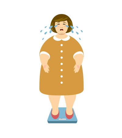 Fat woman cries on the weighing scales. Fighting excess weight vector illustration Vectores