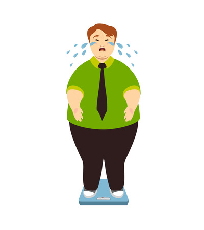 Fat man cries on the weighing scales. Fighting excess weight vector illustration Ilustração