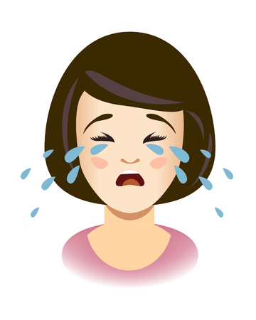 Woman cries. Head of weeping girl. Vector illustration