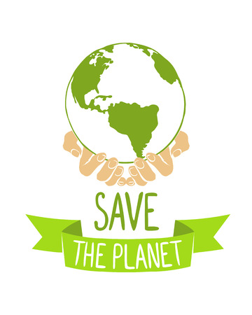 Save the planet. Earth in hands. Vector