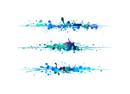 Seitenteiler der blauen Aquarellspritzenfarbe. Vektor Vektorgrafik