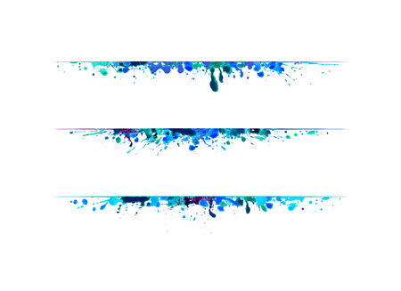 Page dividers of blue watercolor splash paint. Vector