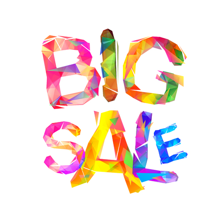Big sale vector inscription of triangular letters.