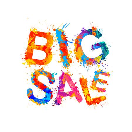 Big sale. Vector inscription of watercolor splash paint