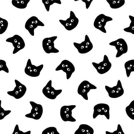 Patrón plano de vector transparente Cabeza de gato negro