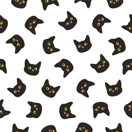 Seamless vector flat pattern. Black cat head illustration. Foto de archivo - 98771026