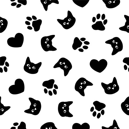 Patrón transparente de vector plano blanco y negro Bozal de gato, pata, corazón