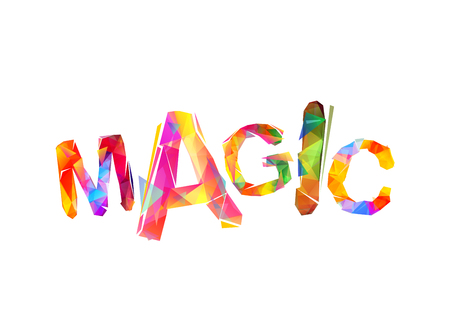 Magic. Vector inscription of colorful triangular letters