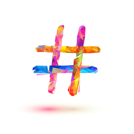 Hashtagicon. Vector colorful triangular symbol on white background