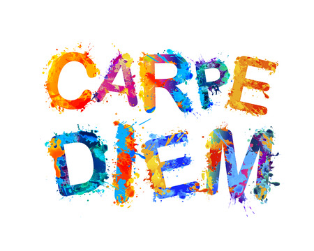 Carpe diem. Latin phrase means Capture the moment. Inscription of splash paint vector letters.