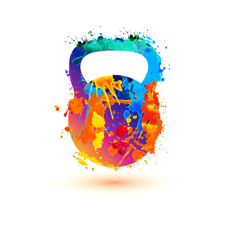 Kettlebell of splash paint symbol. Vector icon