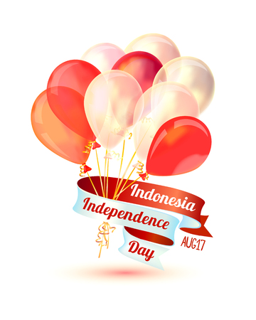 Happy Indonesia independence day. Aug 17. Holiday card with balloons Illustration
