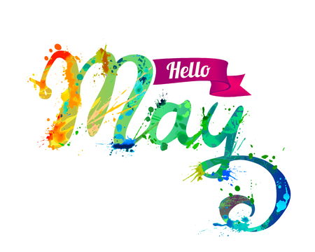 Hello May on Hand written vector inscription of rainbow splash paint