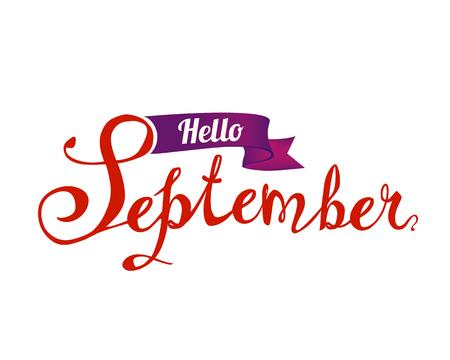 Hello September. Hand written doodle vector word on white background