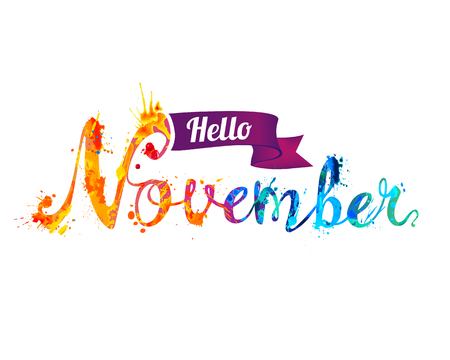 Hello November. Hand written vector word of rainbow splash paint