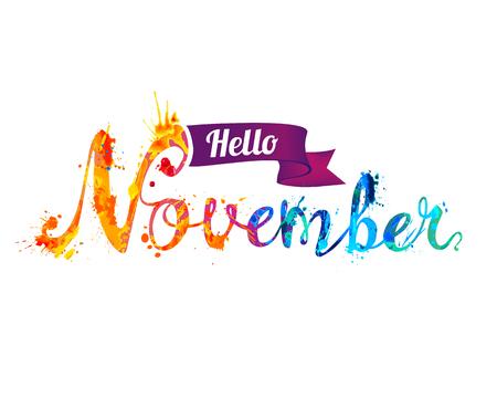 Hello November. Hand written vector word of rainbow splash paint