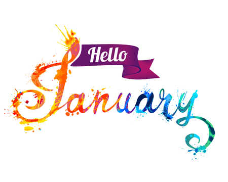 Hello January. Hand written vector word of rainbow splash paint
