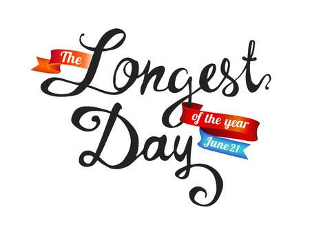 The Longest day. June 21. Hand written doodle words