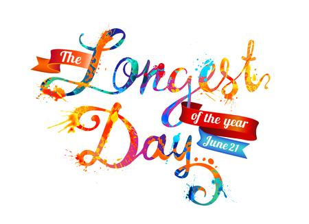 The Longest day. June 21. Splash paint Illustration