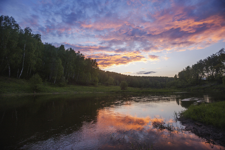 River in Moscow region. Russian sunset landscape