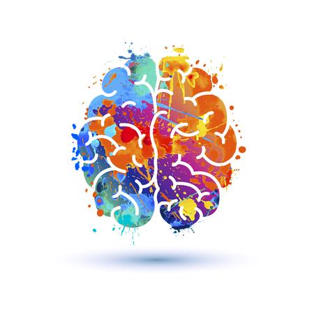 Human brain icon of watercolor splash paint