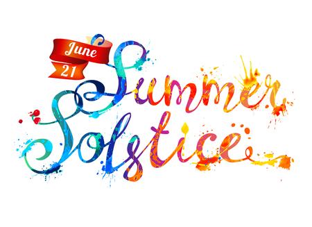 Przesilenie letnie. 21 czerwca. Odręczny napis wektor doodle czcionki liter rozchlapywanych farbą