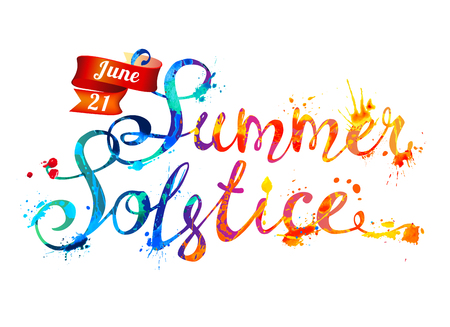 Summer solstice. June 21. Hand written vector doodle font inscription of splash paint letters
