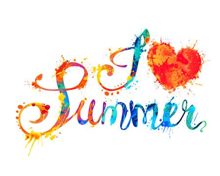 I love summer. Hand written vector words of rainbow splash paint  Çizim