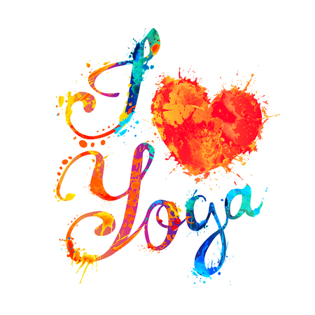 I love yoga. Hand written vector doodle font inscription of splash paint letters Ilustração