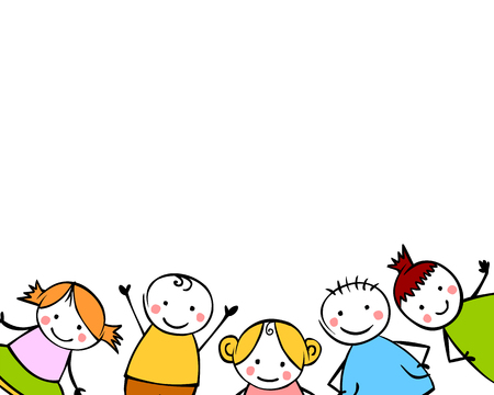 White background with boys and girls. Little people in the children style 일러스트