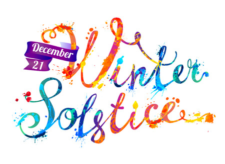 Winter solstice. December 21. Vector watercolor splash paint