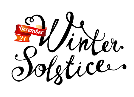 Winter solstice. December 21. Hand written doodle vector word on white background Illustration