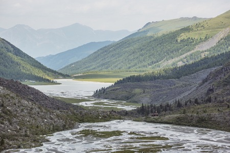 The valley of the Ak-kem river. Beluha mountain. Altai landscape. Russia Stock Photo