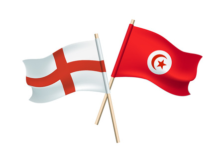 Tunisia and England vector flags on white background