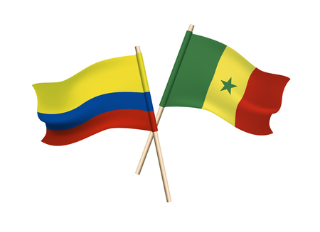 Columbia and Senegal vector flags on white background Stock fotó - 103817786