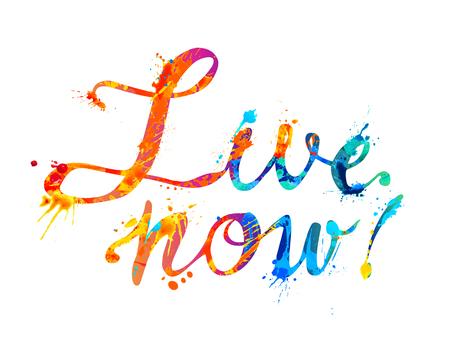 Live now. Hand written vector word of rainbow splash paint