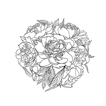 Linear vector bouquet of peony flowers. Black on white