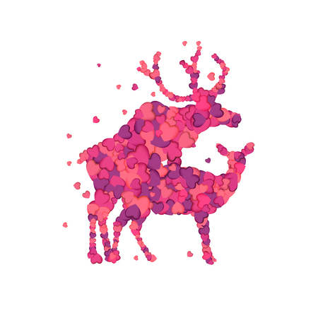 Mating deers. Silhouette of vector pink herts 일러스트