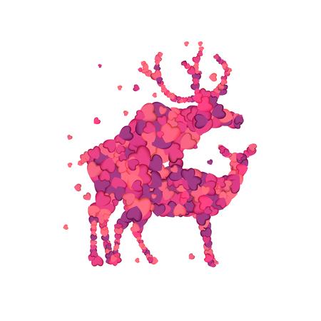 Mating deers. Silhouette of vector pink herts Ilustração