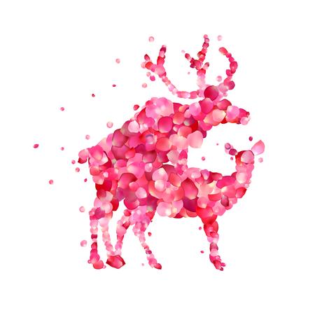 Mating deers. Silhouette of vector pink rose petals