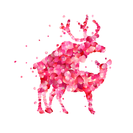Mating deers. Silhouette of vector pink rose petals