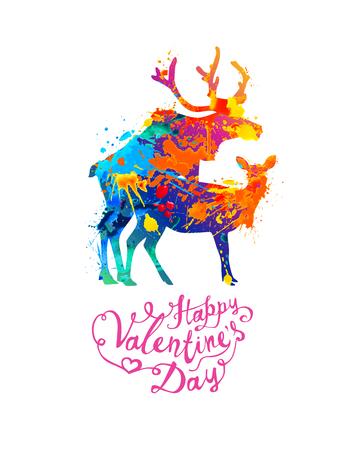Tarjeta de feliz día de San Valentín con silueta de ciervos de apareamiento de pintura splash
