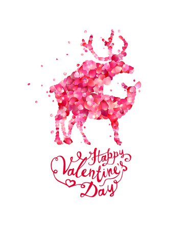 Happy Valentines Day card with mating deers silhouette of vector pink rose petals