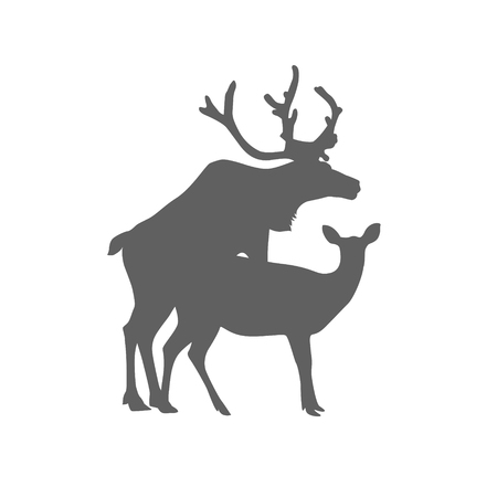 Silhouette of mating deers. Flat vector icon 일러스트