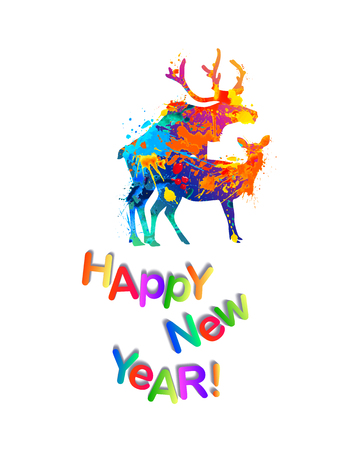 Happy New Year congratulation card with silhouette of mating deers. Vector splash paint