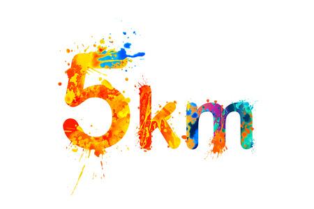 5 km. Short running distance. Splash paint sign Illustration