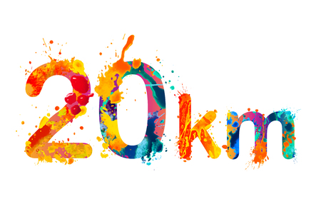 20 km. Long running distance. Splash paint sign Illustration